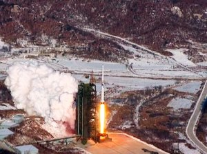 Video grab from KCNA shows Unha-3 rocket launching at North Korea's West Sea Satellite Launch Site, in Cholsan county